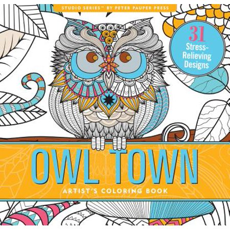 Owl Town Adult Coloring Book (31 Stress-Relieving Designs) - Halloween Coloring Pages Adults