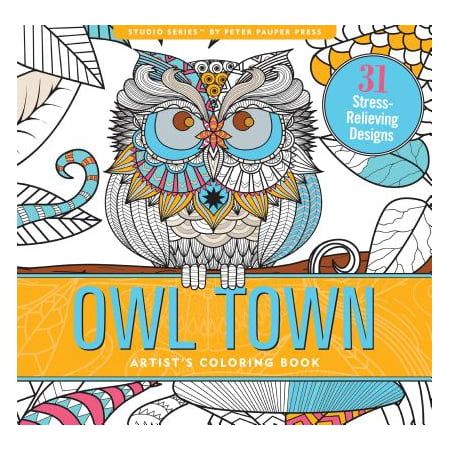 Owl Town Adult Coloring Book (31 Stress-Relieving Designs) - Adult Sticker Book