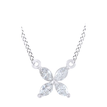Marquise Shape White Natural Diamond Pendant Necklace In 14k White Gold