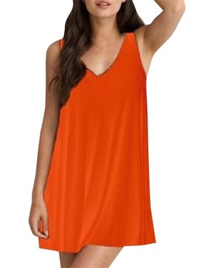 Plus Size 6XL Women Solid Sleeveless V-neck Loose Mini Dress