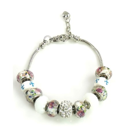 Athena Jewelry Murano Glass Bead Rose Bead Snake Chain Bracelet