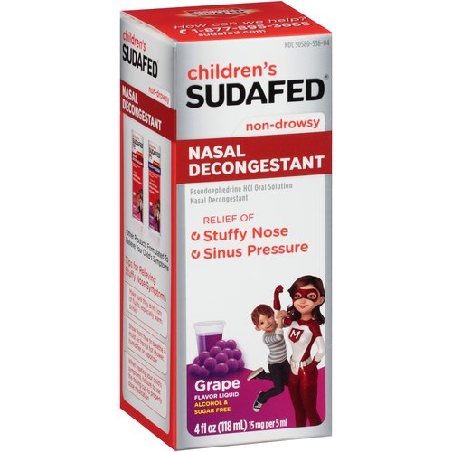 Children's Sudafed Non-Drowsy Nasal Decongestant Grape Liquid, 15mg, 4 fl oz