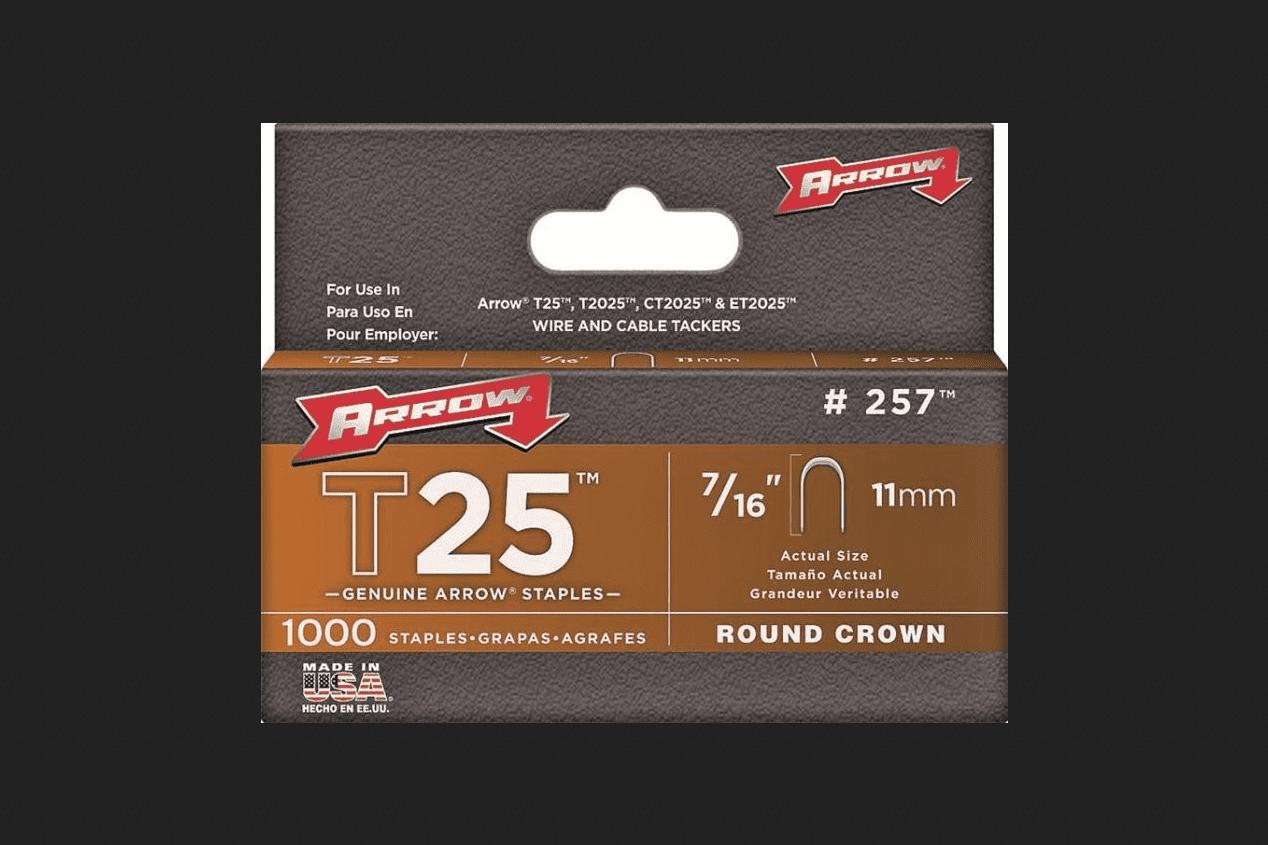 Arrow Fastener 257 T25 Round Crown Staples, 7 16\ by Arrow Fastener