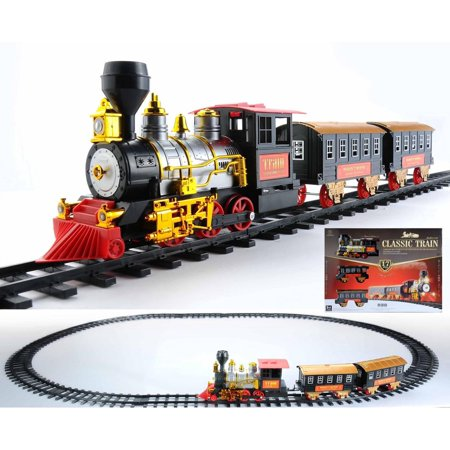 17-Piece Battery Operated Lighted & Animated Classics Train Set with (Best Train Set For Under The Christmas Tree)