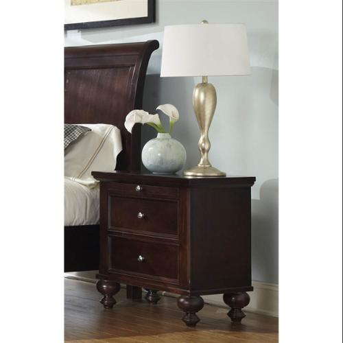 2-Drawer Nightstand with One Pull Out Tray