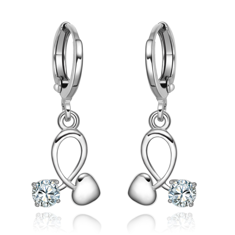 Small Very Cute Unity Symbol Positive Energy Hearts Silver-Tone Lucky Charms Sparkling Crystals Earrings