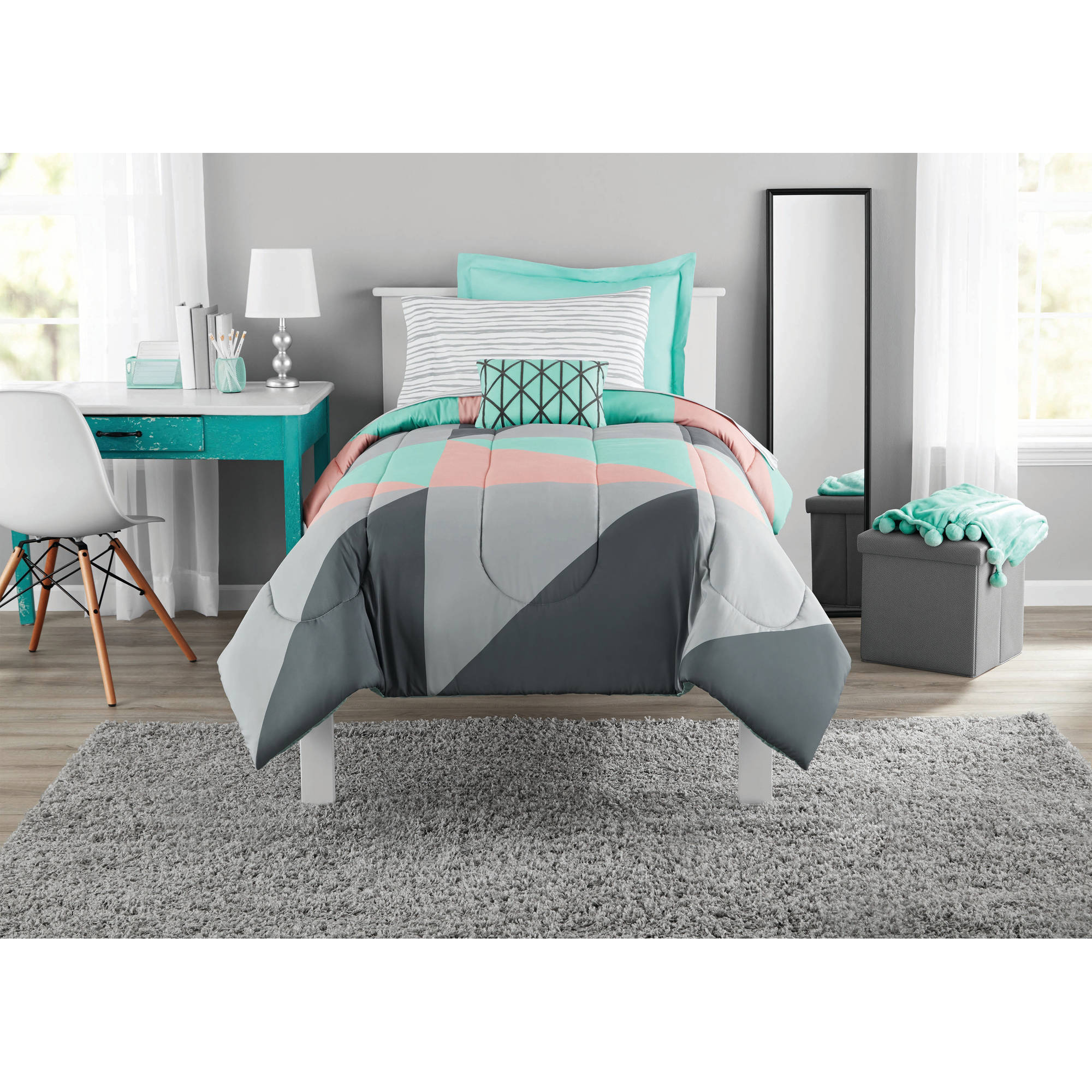 Mainstays Grey Teal 6 Pc Bed In A Bag Bedding Set With Sheet Set Twin Twin Xl Walmart Com Walmart Com