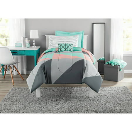 Mainstays Grey & Teal Bed in a Bag Bedding Set with BONUS Sheet Set, Twin/Twin XL
