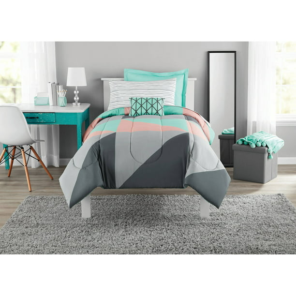 Mainstays Grey & Teal 6 pc Bed in a Bag Bedding Set with BONUS