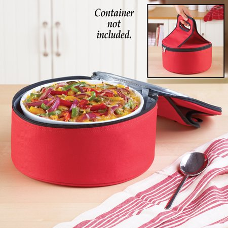 Round Insulated All-Purpose Food Carrier, Pie and Casserole Carrier, Zippered Tote with Carrying Handle (Pip Carrier)