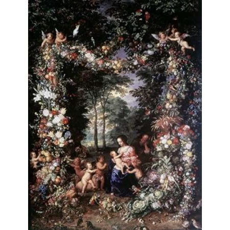 Holy Family W Wreath of Fruit and Flowers Stretched Canvas - Jan Brueghel the Elder (11 x (Holy Family Wreath)