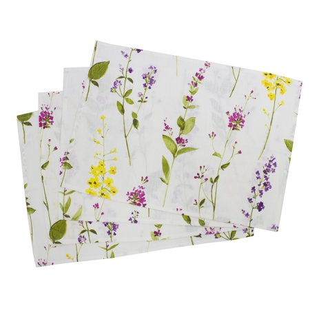 Fennco Style Botanical Garden Collection Watercolor Floral Stem Pure Linen 14 x 20 Inch Placemats, Set of 4 - Floral Placemats for Wedding, Picnic, Tea Party and Table Décor - Tea Party Table
