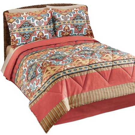 Jaron Southwest Aztec Native American Pattern Medium Weight Comforter Bed Set With Sham S