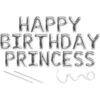 Princess, Happy Birthday Mylar Balloon Banner - Silver - 16 inch Letters. Includes 2 Straws for Inflating, String for Hanging. Air Fill Only- Does Not Float w/Helium. Great Birthday Decoration