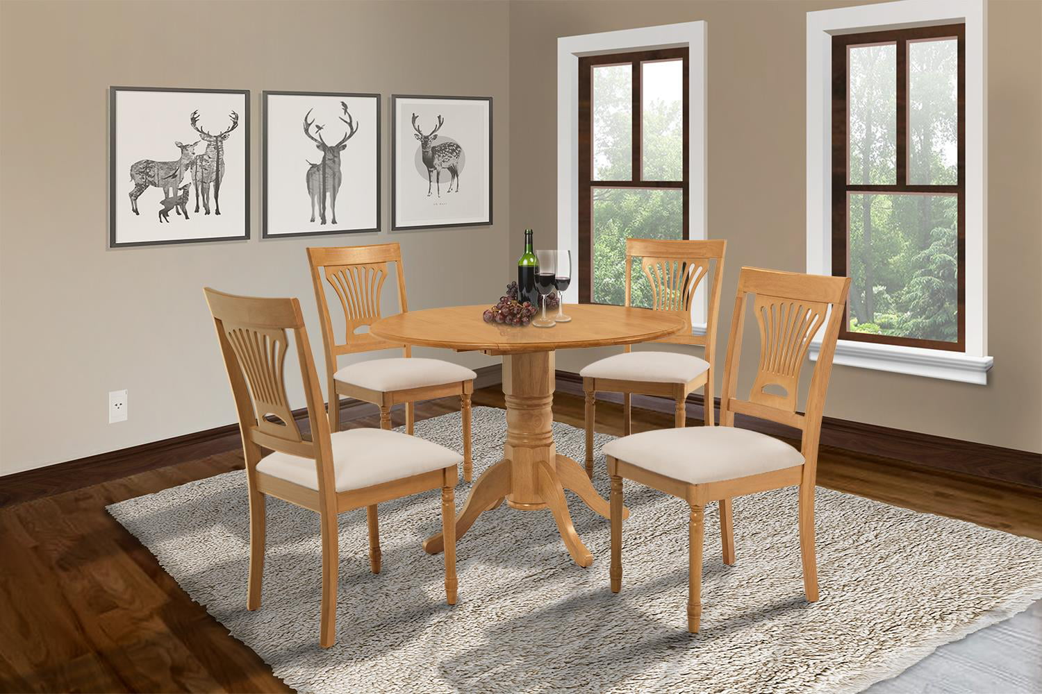 Burlington 5 Piece Small Kitchen Table Set Kitchen Table And 4 Dining Chairs Finish Oak Shape Round Walmart Com Walmart Com