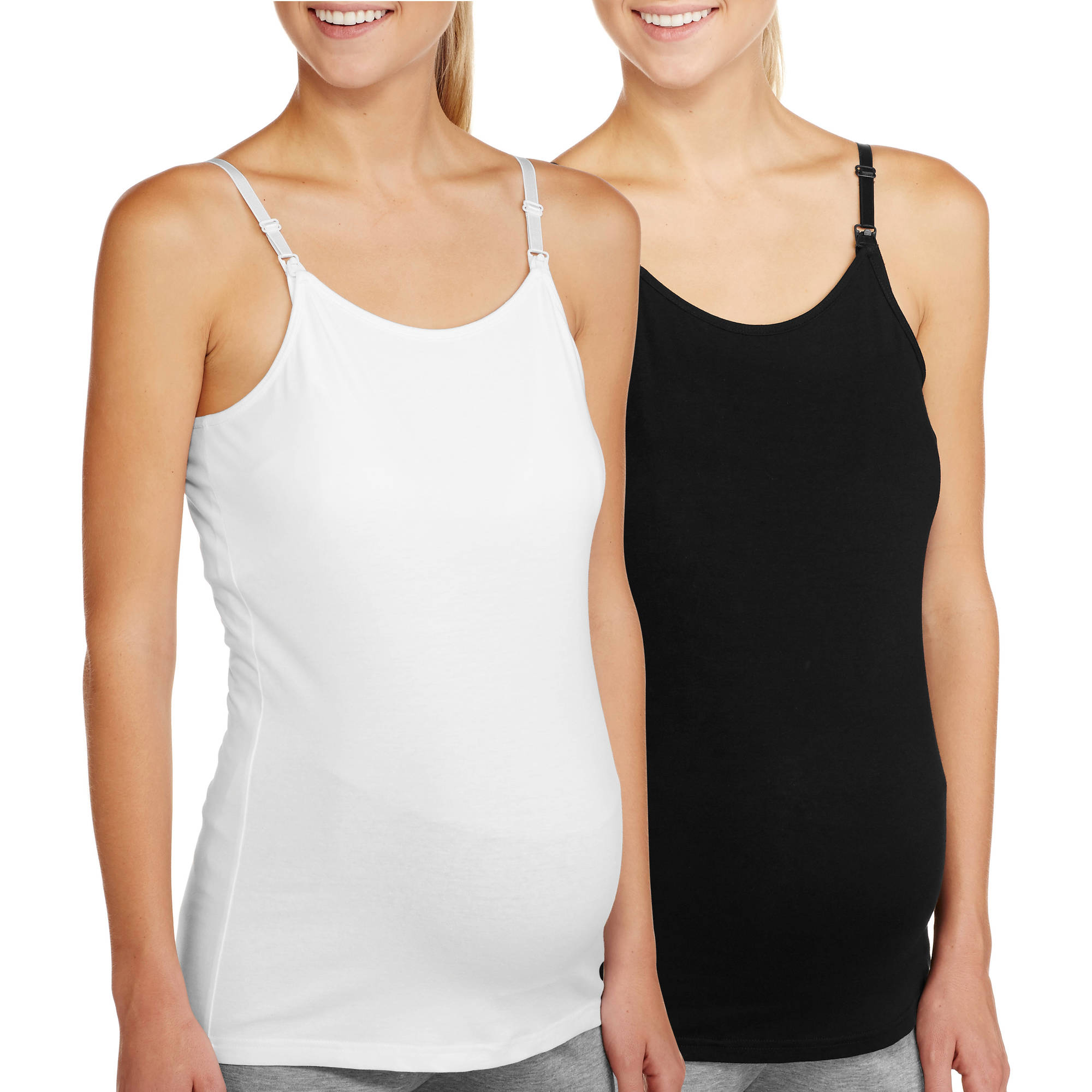 Maternity Basic Nursing Cami with Adjustable Straps, 2-Pack Value Bundle