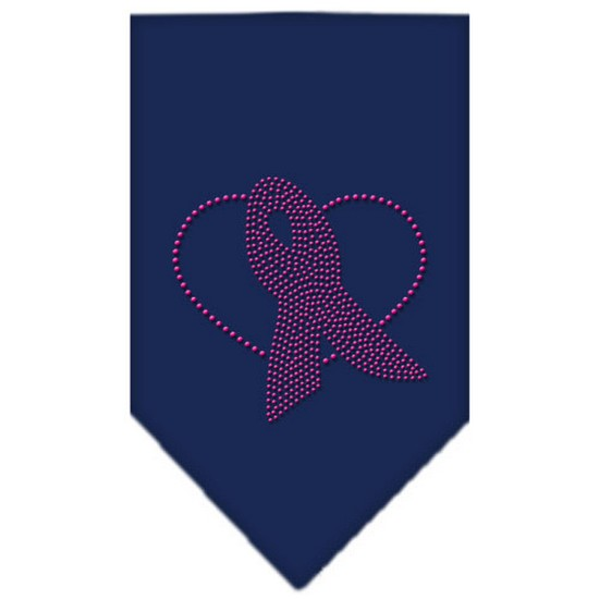 Mirage 67-63 SMNB Pink Ribbon Rhinestone Pet Bandana Navy Blue Small