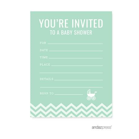 Mint Green Chevron Baby Shower Blank Invitations 20 Pack