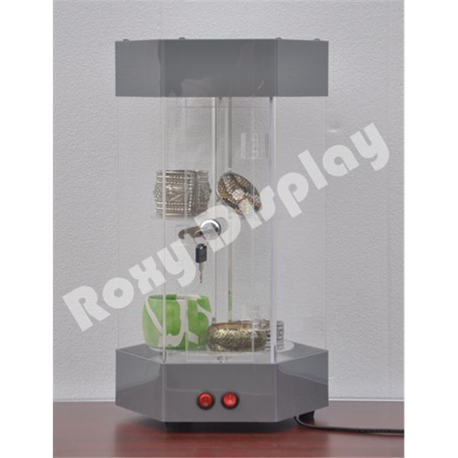 Roxy Display JW-AD-H5027SL 20 in. Rotatable Hexagon Acrylic Display Tower Case - Silver