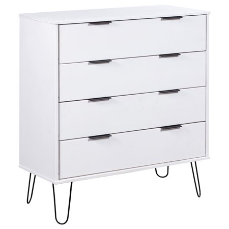 """Fugacal Drawer Cabinet White 30.1""""x15.6""""x35.6"""" Solid Pine Wood Chest of drawers"""