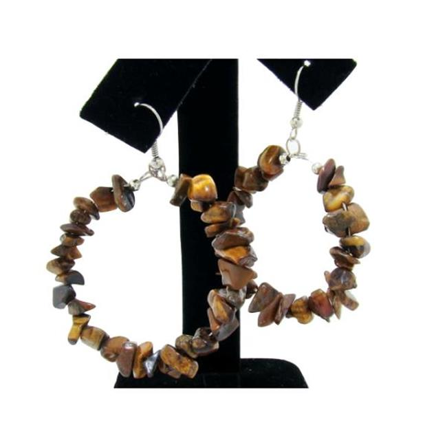 Bulk Buys Genuine Semi-Precious Hoop Earrings - Tigers Eye - Pack of 6