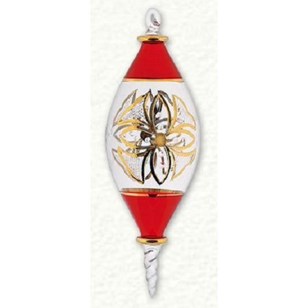 Red and Gold Etched Marquis Egyptian Glass Christmas Ornament - Golf Christmas Decorations