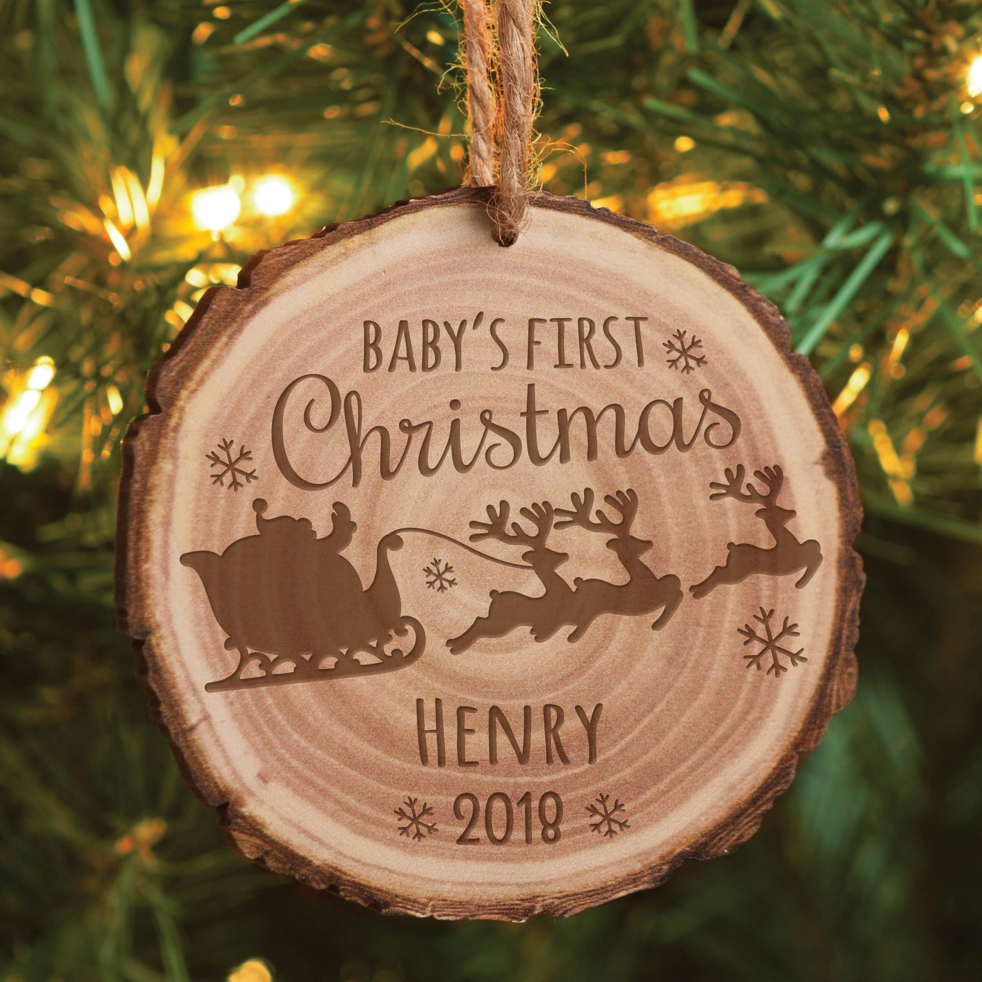 Personalized Babys First Christmas Ornament Bark Walmartcom