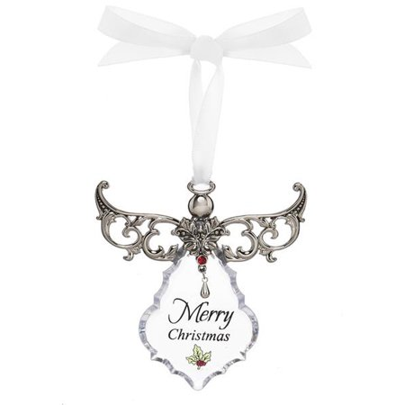 Merry Christmas Clear Angel Gown Christmas Tree Ornament - By Ganz