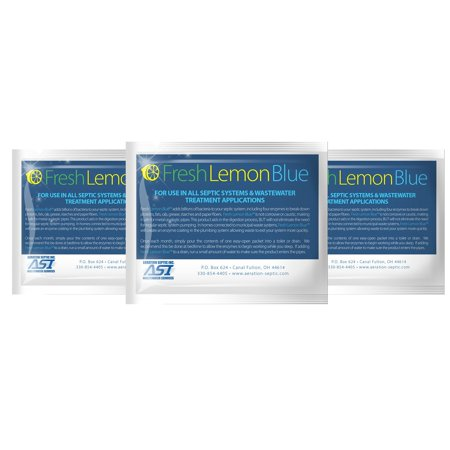 Fresh Lemon Blue Septic Tank System Treatment - Contains All Natural & Safe Enzymes And Bacteria (3 packet) Septic Tank Bacteria