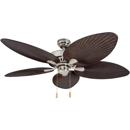 (EcoSure  Abaco Brushed Nickel 52-inch Ceiling Fan with Palm Leaf Blades and Remote Control - brushed nickel/brown)