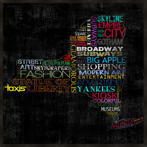 PTM Images New York Typography Framed Graphic Art