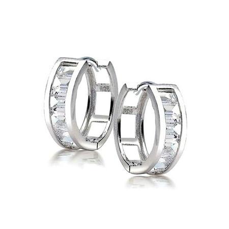 Asscher Inspired Channel Setting (Square Asscher Cut CZ Channel Set Kpop Huggie Hoop Earrings For Women For Men Cubic Zirconia 925 Sterling Silver )
