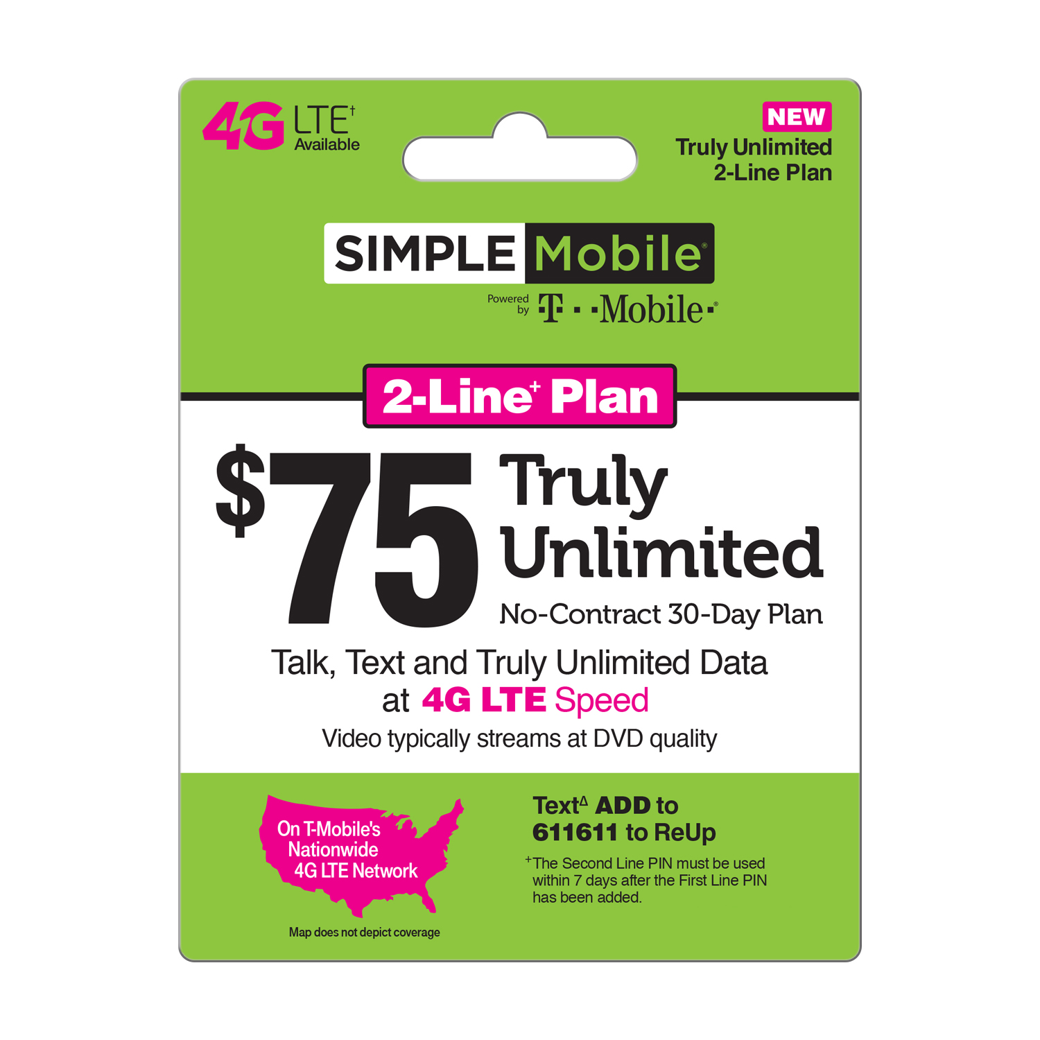 Simple Mobile TRULY UNLIMITED 4G LTE Data, Talk & Text 30-Day - 2-Line+ plan, $75 (Video streams at 480P) (Email Delivery)