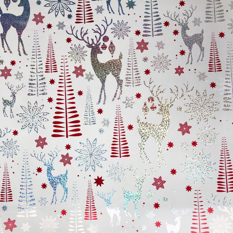 "Jillson & Roberts Bulk Gift Wrap, Sparkling Reindeer, Full Ream 833' x 24"""