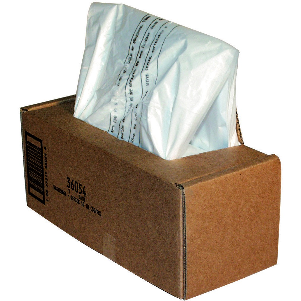Fellowes, FEL36054, Waste Bags for 125 / 225 / 2250 Series and AutoMax™ 350C and 550C Shredders, 50 / Carton, Clear, 20 gal