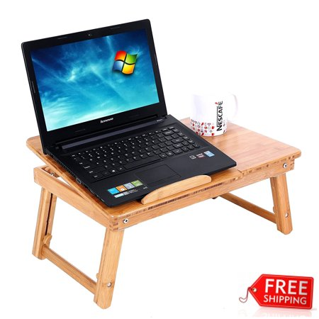 GHP 110-Lbs Capacity Wood Color Bamboo Durable Adjustable Design Foldable Computer Desk ()