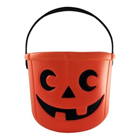 KINREX Halloween Halloween Bucket - Party Favors - Halloween Party Supplies - Halloween Candy Basket - Trick or Treat Bucket - Jack O Lantern - Orange 5.5