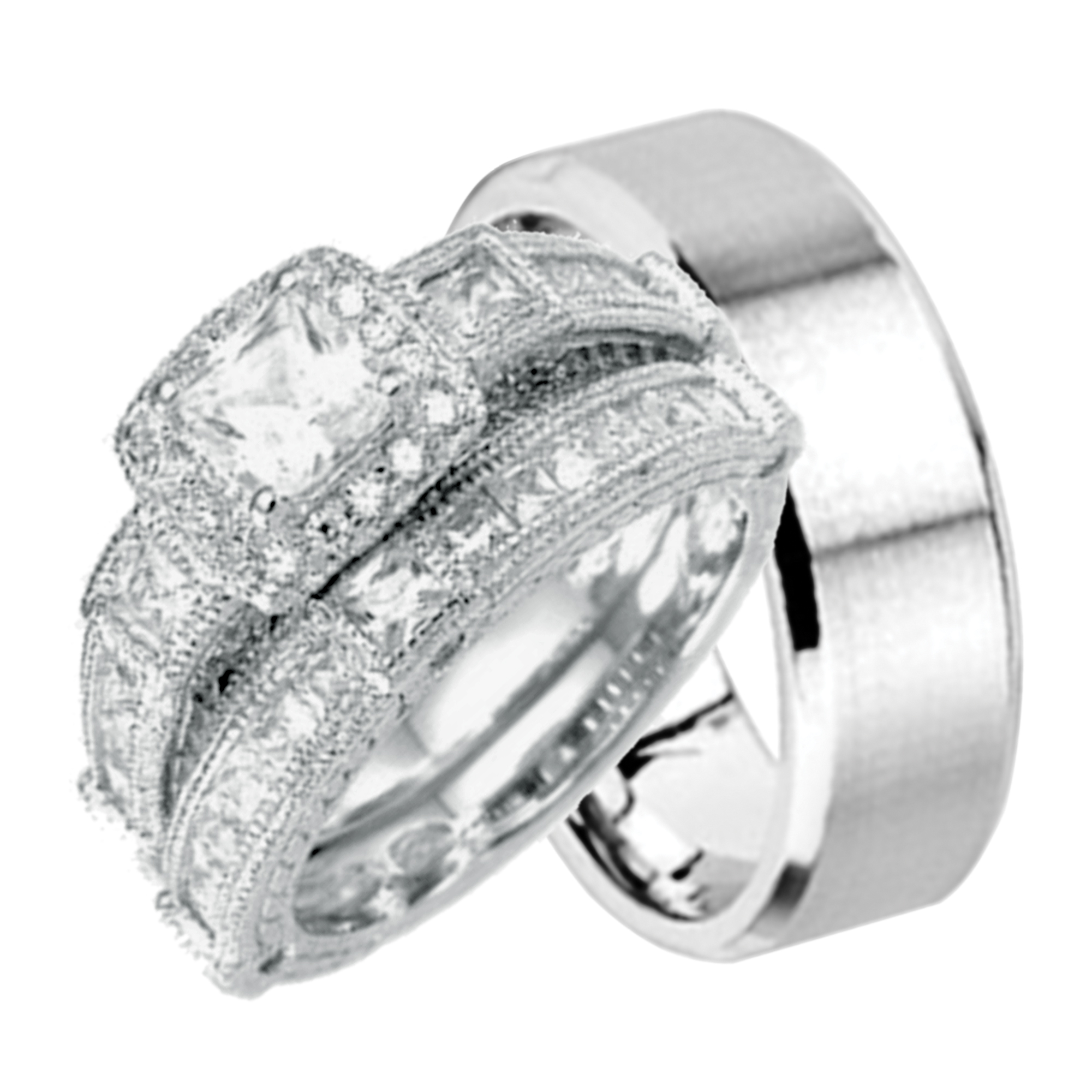 His And Hers Wedding Ring Set Matching Wedding Bands For Him And Her (6/