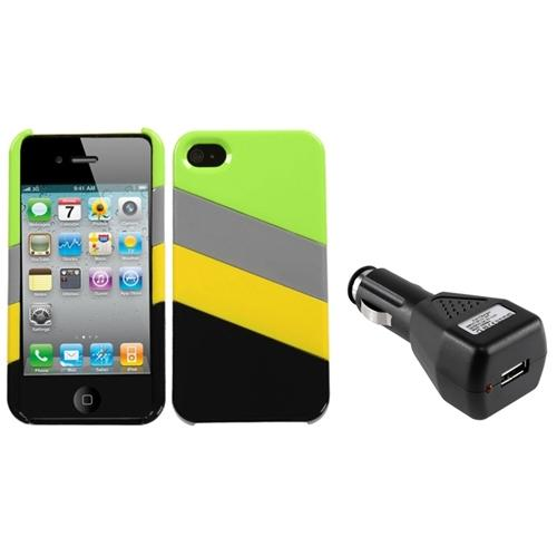 Insten MyColor Splash Case (005) (with Package) For iPhone 4/4S + USB Car Charger