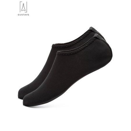 "GustaveDesign Skin Water Barefoot Shoes For Men & Women Aqua Beach Socks Yoga Exercise Pool Swim Slip On Surf Shoes ""Black,XXL"""