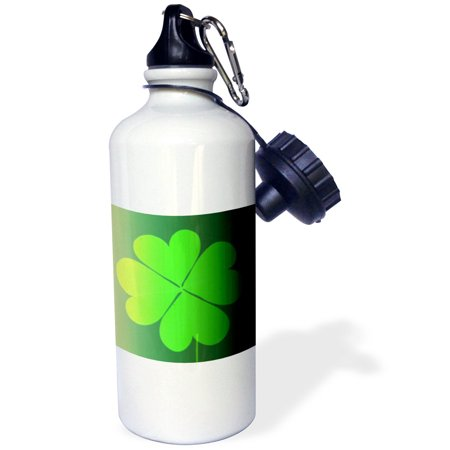 3dRose Green Four Leaf Clovers- St. Patricks Day- Art, Sports Water Bottle, 21oz