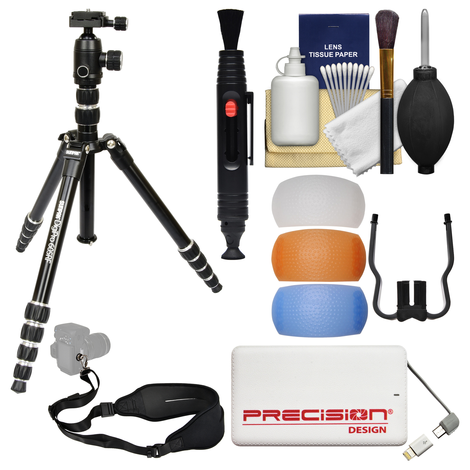 "Sunpak 60"" DigiPro 605RF Folding Tripod with Ball Head & Case with Flash Diffusers + Portable Charger + Sling Strap + Cleaning Kit"