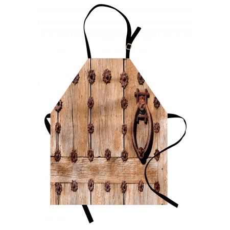 Rustic Apron Spanish Entrance of Rusty Medieval Style Handlers Archway Facade Historical Image, Unisex Kitchen Bib Apron with Adjustable Neck for Cooking Baking Gardening, Pale Brown, by Ambesonne
