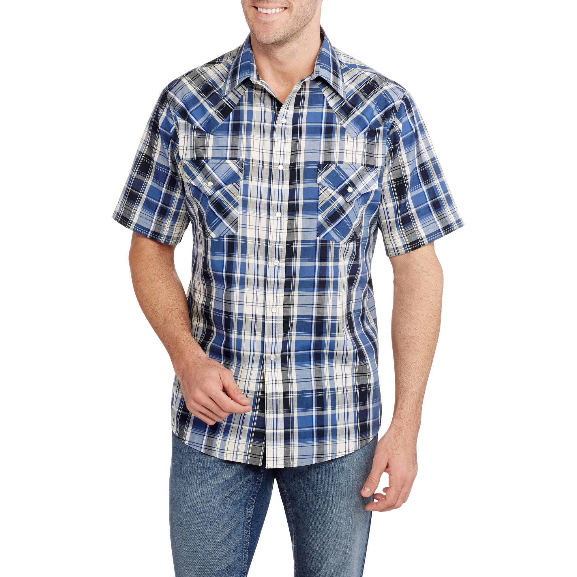Plains Men's Short Sleeve Easy Care Plaid Western Shirt