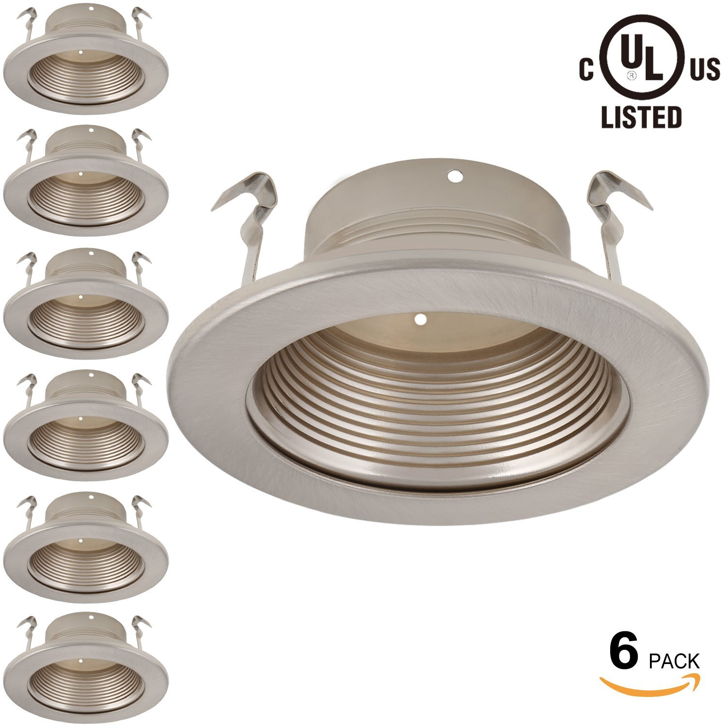 6 Pack 4 Inch Recessed Can Light Trim with Satin Nickel M...