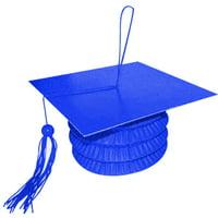 """Anagram Grad Cap Paper Lantern Bouquet 5.5"""" Balloon Weight, Blue"""