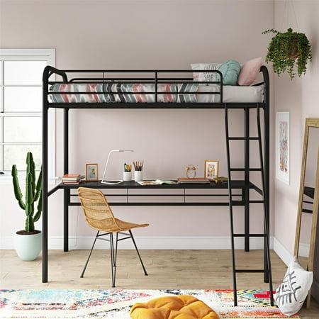 DHP Metal Loft Bed with Desk, Twin Size Frame, Black Metal/Black Desk