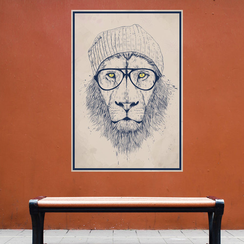 My Wonderful Walls Cool Hipster Lion Wall Decal