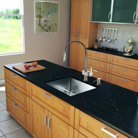 Vigo All In One 23  Undermount Stainless Steel Kitchen Sink And Faucet Set
