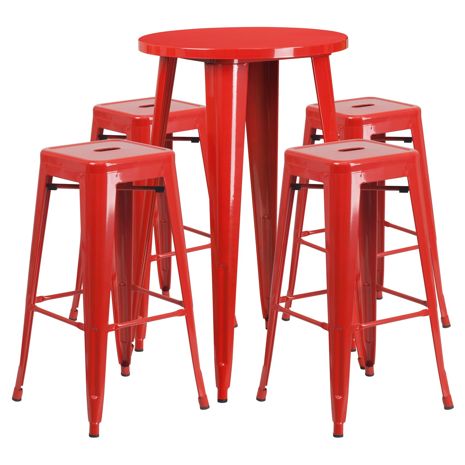 "Flash Furniture 24"" Round Metal Indoor-Outdoor Bar Table Set with 4 Square Seat Backless Barstools, Multiple Colors"
